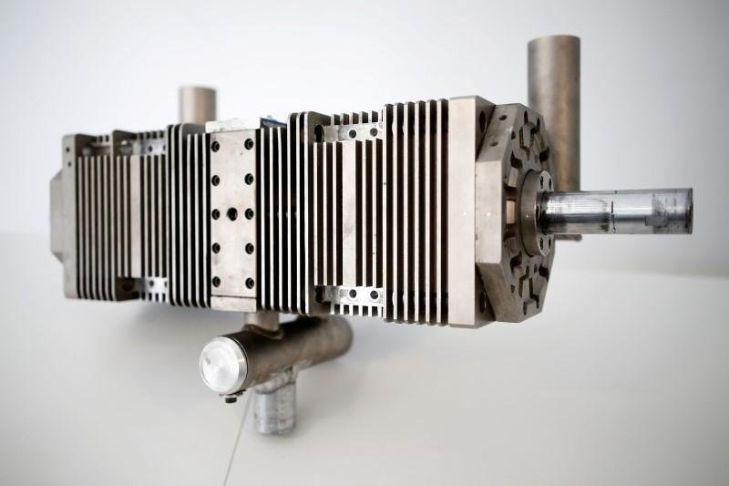 A prototype of a combustion engine developed by Israeli start-up Aquarius Engines is seen at their offices in Rosh Ha'ayin
